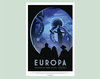 Europa NASA Poster, NASA Wall Decal, Jupiter's Moon, Planet Wall Decal, Boys Room Decor, Astronomy gift, Space wall mural, Jupiter wall art