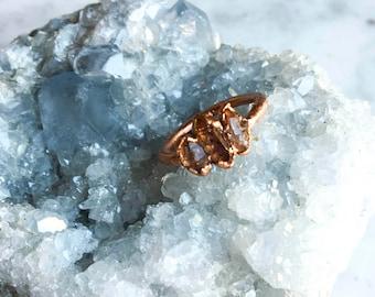 Triple Smoky Quartz and Copper Ring Size 7 1/4