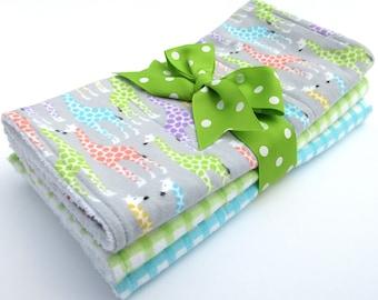 Baby Burp Cloth Set - Set of 3 - Gray, Green, Aqua, Coral Giraffe Print, Green Check, Aqua Check - Cotton Flannel - White Terrycloth