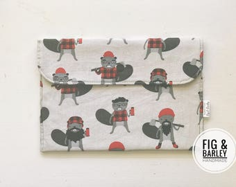 Boy Baby Diaper Wallet - Diaper Bag Organizer - Small Diaper Clutch - Baby Shower Gift - Nappy Bag - Beavers - Wipes case