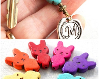 Mothers Day Gift Pet Gift personalized Easter Bunny Keychain Personalized Keychain Initial Keychain Monogram Keychain Easter Rabbit Wax Seal