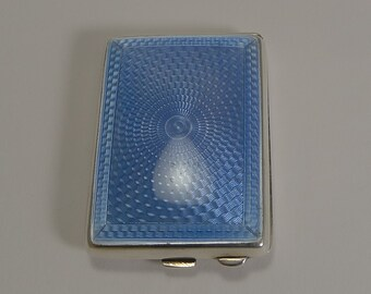 Sterling Silver and Blue Guilloche Enamel Match Book Holder / Striker - 1929