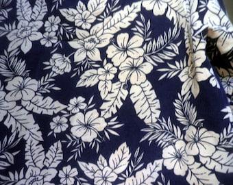 Hawaiian print Sweatshirt / V-neck jersey, navy blue & Tan