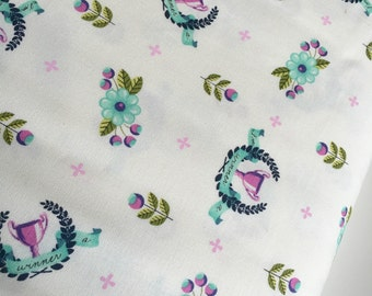 Tula Pink fabric, Slow and Steady Collection, Tortoise and Hare, Woodland nursery, The Winners Circle in Blue Raspberry- Choose the Cut