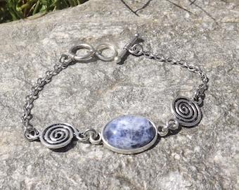 Bracelet spirals Sodalite stone cabochon
