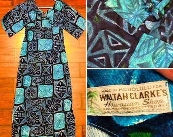 Tiki time, barkcloth vintage made Hawaii by Waltah Clarke's of Honolulu. Just in time for tiki oasis, tiki  caliente, and tiki kon.