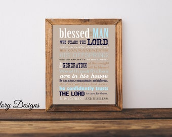 Bible Verse, Father's Day, Scripture art, Psalm 112, Psalms Print, Gift for a man, Scripture printable, Instant Download