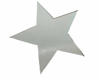 1 applique star gray coated leather light 10 cm