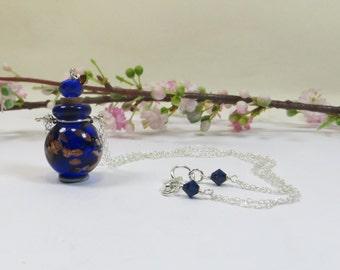 Perfume Bottle Necklace, Lampwork Perfume Bottle Necklace w 925 Silver & Swarovski, Wearable Cobalt Blue Perfume Bottle Pendant Necklace