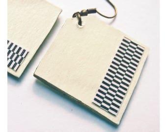 Earrings, geometric, Aztec earrings, black and white, aztec earrings, aztec pattern, black and white