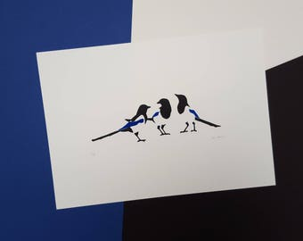"""Magpie """"Three for a Girl"""" Screenprint - Hand printed, Limited Run (18) - Baby shower, new baby, christening or naming day gift, nursery art"""