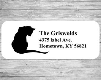 Custom Address Label Silhouette Cat  LW1004