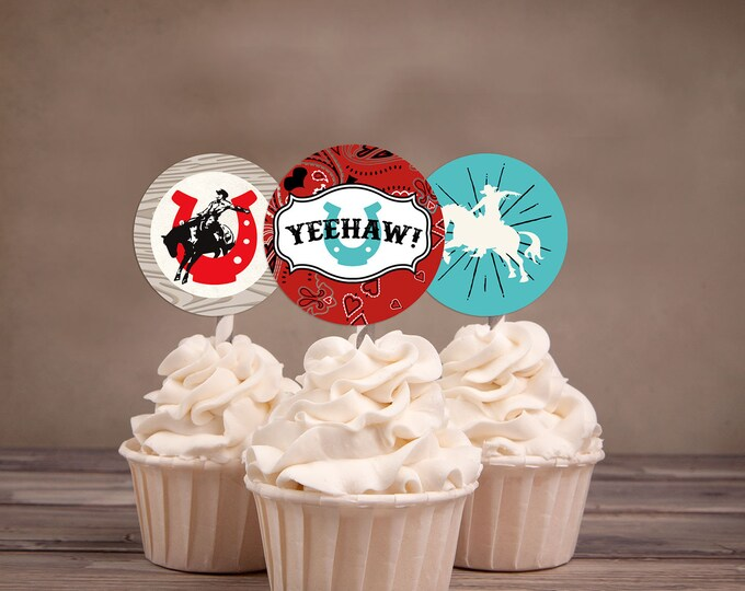 Cupcake toppers, Western, cowboy, cowgirl, birthday, Western birthday, Rodeo, thank you, horse, circus, barn. Rodeo