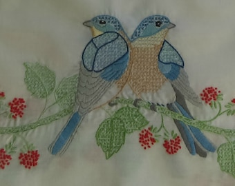 Vintage Dresser Scarf, Blue Love Birds! - Red, Green, Beige 40x14 - Designs at both ends