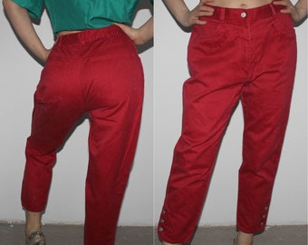 80s Mom Pants Tapered Red Denim Pants Bright High Waisted Baggy Pants Trousers Loose Fit Boyfriend Pants W25 Peg Leg High Waist Medium