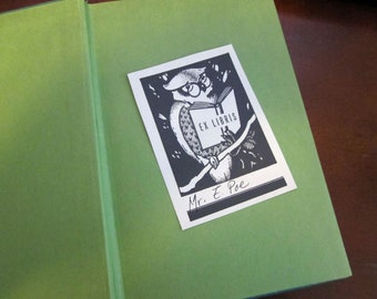 Vintage Reading Owl Ex Libris Bookplate Download