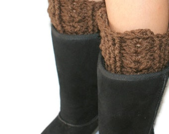 Boot Cuffs, Legwear, Brown Legwarmers, Boot Warmers, Legwarmer Boot Cuff, Winter Boot Cuff, Brown Boot Cuffs, Brown Boot Socks