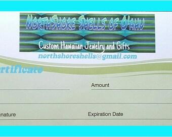 Gift Certificate, Hawaiian gifts, ocean decor, school crafts, birthday gift, seashell assortment, wedding supplies, kids craft supplies