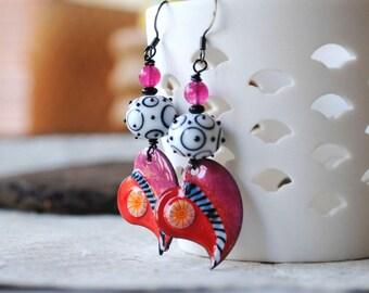 Colorful Heart Earrings, Artisan Enamel Earrings, Red Heart Earrings, Lampwork Bead Earrings, Funky Valentine Earrings, Broken Heart Jewelry