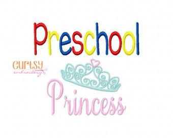 Preschool Princess Embroidery Design, Preschool Embroidery Design, First Day of School Embroidery Design
