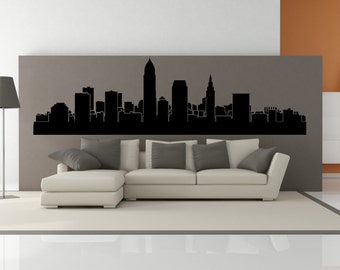 PREMIUM Cleveland Ohio City Skyline Interior Wall Decal WITHOUT Lettering
