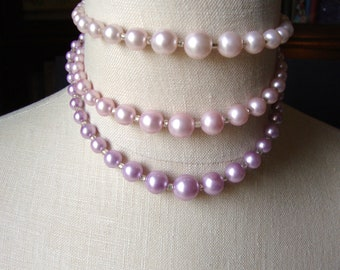 Pink Faux Pearl Choker and Clip Earring Set, Vintage Japan