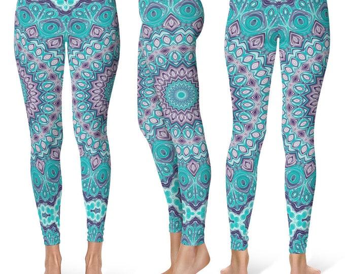 Blue Leggings Yoga Pants, Mandala Printed Yoga Tights for Women, Festival Clothing