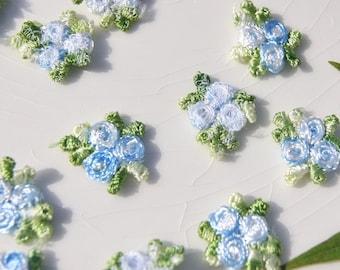 Vintage Flower Applique, Blue White Flower Embroidery Applique, Vintage Embroidered Applique Flower #5025