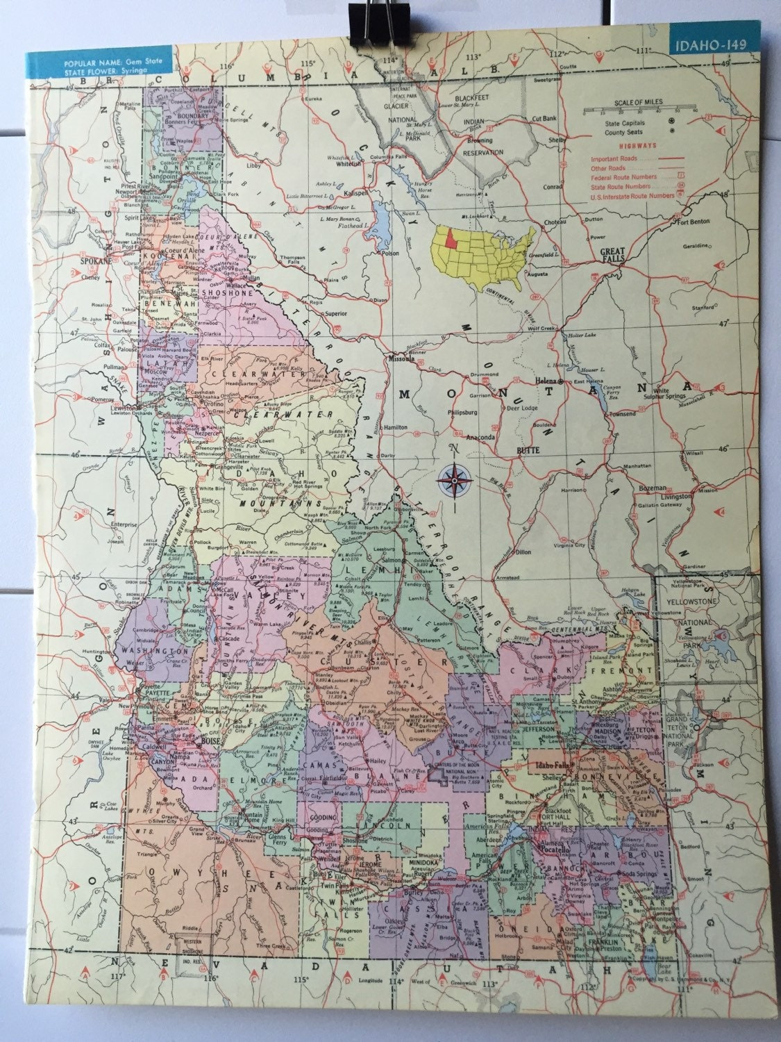 Vintage 1965 hammonds world atlas map page idaho on one side and 500 gumiabroncs Image collections