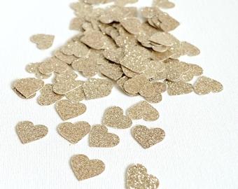 Champagne Glitter Hearts - Glitter Confetti Hearts - Wedding Decor - Mini Hearts Table Scatter - Shower - Anniversary Party Confetti 100 Pc