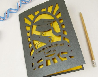 Personalised Papercut Graduation Card, Grey and Super Gold Laser Cut Congratulations Card, sku_new_graduation