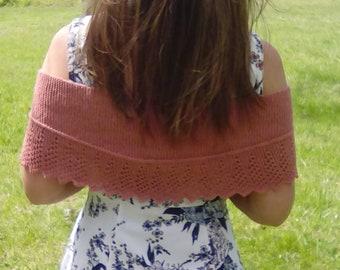 Hand Knit Petite Shawl Shrug-Spring Shawl -Summer Shawl - Wedding Shawl -Terra Cotta Shrug - Coral- Melon- Clay