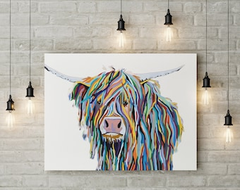 Highland Cow Print,Scottish Farm Animal Wall Art,Highland Coo,Color Modern Print,Digital Download, Printable Cattle Poster,Contemporary
