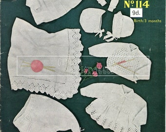 Baby Layette 0-3 month DK Sirdar 114 Vintage Knitting Pattern PDF instant download
