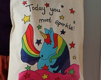 Unicorn bag, colourful rainbow, printed tote bag, and matching badge! Unicorn tote, beach bag, book bag, today you must sparkle, kindness