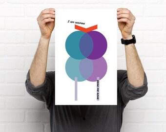 "I am woman, hear me roar. Modern art inspired Poster Print - 11.7""x16.5"" (29.7 x 42 cm)"