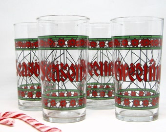 Vintage Seasons Greetings Stained Glass-Style Highball Glasses/Tumblers by Libbey, Set of 4 — Classic Christmas Glassware