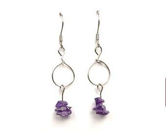 Amethyst dangle earrings, geometric minimal jewelry, silver earrings, purple amethyst jewelry, silver jewelry minimal amethyst earrings ylic