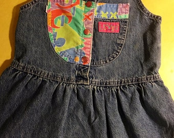80s/90s Levis Brand Denim Dress cute girls retro colorblock classic size 4  mom gift jeans guess shower old school hipster retro