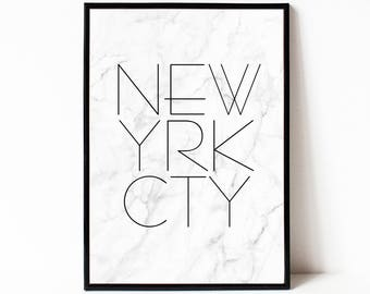 Newyork city wall art, new york typography decor, marble printable wall decor, digital download print, instant download printable art