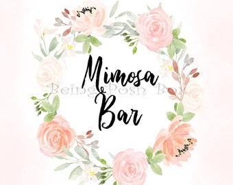 Light Floral Mimosa Sign (Horizontal)