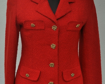 Vintage red jacket with golden buttons Size 36 FR