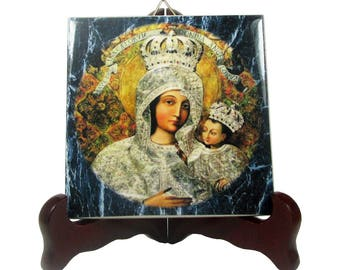 Our Lady of Gietrzwald - Virgin Mary print on ceramic tile - Mother Mary - Virgin Mary icon - religious decor - religious art - christianity