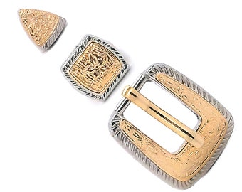 "Rope Edge and Gold Hatband Buckle Set 3/8"" 1694-06"