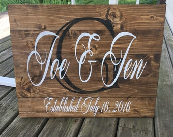 Custom Pallet Wood Wedding  Established Sign Personalized/Family/Wedding/Rustic/Initial/Country/Wall/Name/Distressed