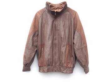 Vintage 80's Bomber Jacket | Taupe | Leather