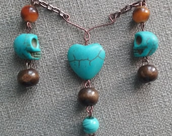 Turquoise Color Skull and Heart Necklace