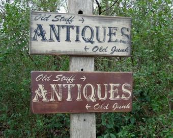 Antiques Old Stuff Old Junk Primitive Sign homemade sign rustic sign Vintage Sign Kitchen Decor