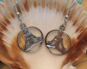 Yoga Pendant Drop Earrings,Meditation ,Chakra,Energy Healing Jewelry