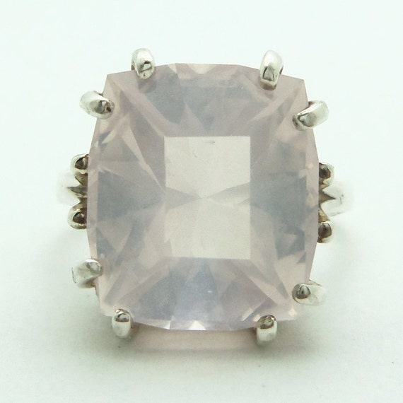 8.80 Carat Rose Quartz Gemstone Ring Size 6 Sterling Silver Hand Cut Gem